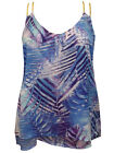 CAPTIVE PLUS Grecian Braided Double Strap Chiffon Top PALM PRINT 14/16 to 22/24
