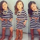 Fashion New Kids Girl's Cute Long Sleeve O-Neck Striped Casual Party Dress N98B