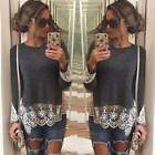 Fashion Women Summer Vest Top Long Sleeve Blouse Casual Tank Tops T-Shirt Lace 6