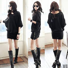 Korean Womens Batwing Sleeves Black Zip Slim Bottom Blouson Zip Mini Dress 4904
