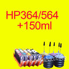 5 REFILLABLE CARTRIDGE no chips for HP 364+HP 364 150ml REFILL INK CC5380, C5460