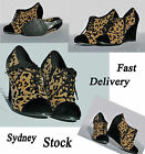 Women/Girls Leopard Print Wedge High Heel Shoes  Size 5-8
