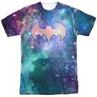 Batman Batgirl Galaxy Symbol Allover Print Sublimation Licensed Adult T-Shirt