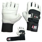 Внешний вид - BUKA WEIGHT LIFTING GYM GLOVES BODY BUILDING WORKOUT COWHIDE LEATHER NEW WHITE