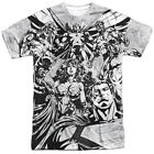 Justice League Graphic Gathering Sublimation Licensed Adult Shirt S-3XL