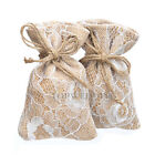 12/24/60PCS Rustic Burlap Lace Gift Bags Candy Pouches Hessian Wedding Favors