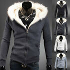 Stylish Mens Casual Faux Fur Hoodie Hood Coat Jacket Sweatshirt Outwear Overcoat