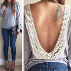 Sexy Womens Sexy Backless Long Sleeve T Shirt Casual Blouse Tops Shirt Clothing