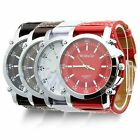New Womage XXL Oversize Stainless Steel Quartz Watch with Faux Leather Strap