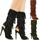 WOMENS LADIES HIGH HEEL TASSEL FRINGE BOOTS OPEN TOE PARTY STILLETO SANDALS SIZE