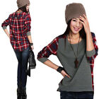 Hot Fashion Womens Clothing Loose Long Sleeve Plaid T-shirt Tops Blouse