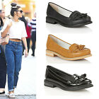 Womens Flats Loafers Tassel Smart Ladies Vintage Classic Shoes Slip On Size