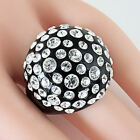 New Black Acrylic Domed Ring Made With Clear Swarovski Elements Crystal On Dome