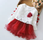 New Baby Girls Long Sleeve Lace Flower Dress Fit 0-36Months Wine
