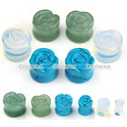 Pair Rose Organic Stone Saddle Ear Plugs Ear Gauges Flesh Tunnel Flower Expander