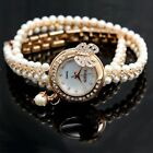 FW912A New Rose Gold Tone Band White Dial Ladies Imitated Pearl  Bracelet Watch