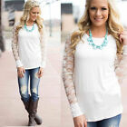 Fashion Womens Lace Floral Long Sleeve Loose Cotton Blouse Shirt Tops