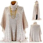 Poncho Cape Sweater Mohair Wool Alpaga beige 36/64 - AMANDA - Woman