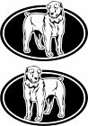 2 Central Asian Shepherd dog breed oval RIGHT  LEFT decals sticker stickers