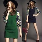 New 3/4 Sleeve Pullover Flower Exposed Zipper Womens Shift Prom Party Mini Dress