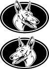 2 Cirneco dell'Etna dog breed oval RIGHT LEFT decals sticker stickers