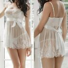 PLUS Womens Lace Lingerie Bridal Babydoll Underwear Sleepwear Robe M L XL 2XL