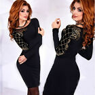 UK Womens Long Sleeves Bodycon Bandage Dress Ladies Party Evening Size 6-14
