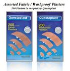 NEW 200 ASSORTED BANDAGE PLASTERS WATERPROOF OR FABRIC BREATHABLE PLASTER