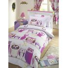 GIRL REVERSIBLE DUVET QUILT COVER CHILDREN BEDDING SET PILLOWCASE OWL HOOT LILAC