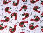 Christmas Fabric Robins and Snowflakes Polycotton Quilts crafts red green white