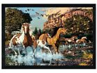 New Black Wooden Framed Hidden Images Horses Running Free Poster