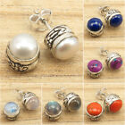 925 Silver Plated Natural AAA PEARL  Other Gemstone Variation STUDS Earrings