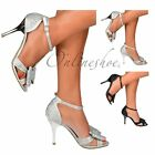 Womens Diamante T-Bar Mid Low Heel Jewelled Bow Party Prom Shoe Silver Black
