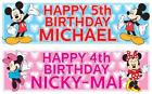 "2 x PERSONALISED MICKEY MOUSE / MINNIE MOUSE BIRTHDAY BANNER 36 ""x 11"" ANY NAME"