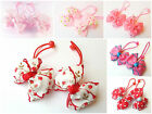 Girls Colourful Hair Accessories Bobbles Elastics Ponytails Ribbon Bow Pink Red