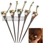 Women Vintage Wooden Hair Stick Pin Handmade Crystal Rhinestone Flower Wood 1 Pc