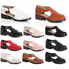 WOMENS LADIES CUT OUT FRILL T BAR CHUNKY GLADIATOR CLEATED SANDALS SHOES SIZE