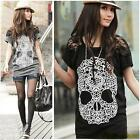 Women Lace Short Sleeve Skull Printed T-shirt Casual Blouse Personalized Top