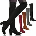WOMENS LADIES OVER THE KNEE THIGH HIGH LOW BLOCK HEELS BOOTS WORK STRETCH SIZE