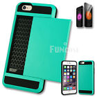 Card Pocket Slide ShockProof Slim Wallet Case Cover for Apple iPhone 5 6 6S Plus
