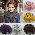 Fashion Womens Warm Infinity 2 Circle Cable Knit Cowl Neck Tassel Scarf Shawl