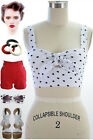 50s Style BOMBSHELL Pinup WHITE Heart Print CROP Top with TIE BUST & Keyhole