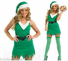 Flirty Sexy Elf Costume Santa's Little Helper & Hat Ladies Christmas Fancy Dress