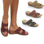 Ladies New Wider Fit Sandals Casual Low Wedge Heels Mules Comfort Slip On Shoes