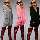 UK 8-22 Women Loose Pullover V-neck Long Sleeve Top Blouse Casual T-Shirt Jumper