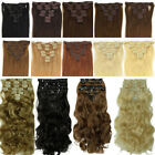 Real Thick FULL HEAD CLIP IN HAIR EXTENSIONS Curly wavy Straight Extra long su87