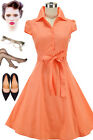 50s Style CORAL Cap Sleeve Collared SODA FOUNTAIN Lucy PINUP Shirt Dress w/Sash