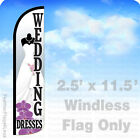 WEDDING DRESSES - WINDLESS Swooper Flag Feather Banner Sign 2.5x11.5' - wz
