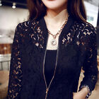 Fashion Women Lace Zipper Jacket Coat Crochet Cardigan Long Sleeve Blazer Top