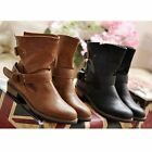 Women Low Heel Mid-calf Strappy Round Toe Buckle Strap Ankle Boot Winter Shoes